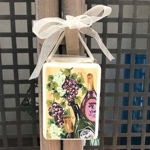 Wine Theme Key Holder Hand-painted Wooden Plaque